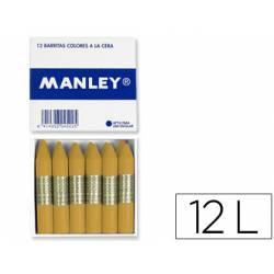 Lapices cera blanda Manley caja 12 unidades color ocre madera