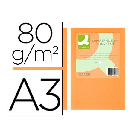 Papel color Q-connect A3 80g/m2 Naranja neon pack 500 hojas