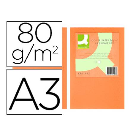 Papel color Q-connect A3 80g/m2 Naranja intenso pack 500 hojas