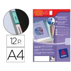 Separador Avery de plastico con 12 pestañas personalizable tamaño din a4