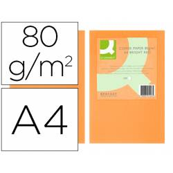Papel color Q-connect A4 80g/m2 naranja neon pack 500 hojas