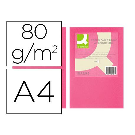 Papel color Q-connect A4 80g/m2 pack 500 hojas Rosa intenso