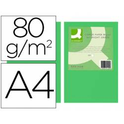 Papel color Q-connect A4 80g/m2 pack 500 hojas Verde intenso