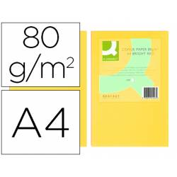 Papel color Q-connect A4 80g/m2 pack 500 hojas Amarillo