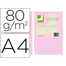 Papel color Q-connect A4 80g/m2 pack 500 hojas Rosa