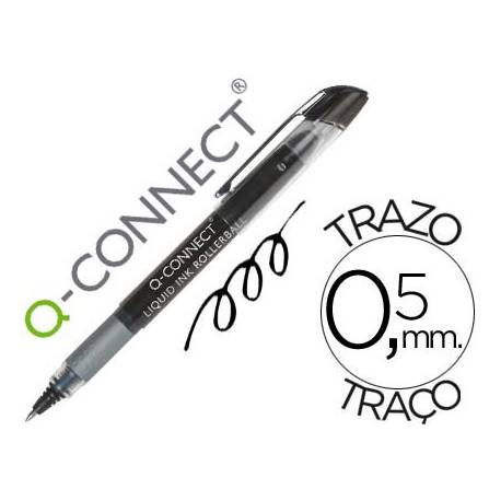 Boligrafo Q-connect roller ball negro 0,5 mm