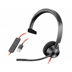 AURICULAR PLANTRONICS BLACKWIRE 3310 DIADEMA MONOAURAL CABLE USB-A