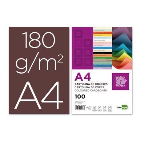 Cartulina Liderpapel marron a4 180 g/m2