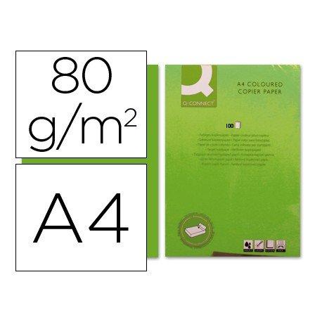 Papel color Q-connect verde intenso A4 80g/m2