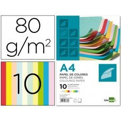Papel Liderpapel Colores Surtidos 80 g/m2 A4 100 hojas