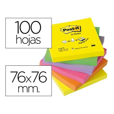 Post-it ® Bloc de notas adhesivas Z-Notes . Colores surtidos