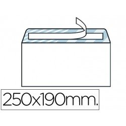 Sobre N.13 Liderpapel, 190x250mm blanco cuarto prolongado con tira de silicona caja de 250 unidades.