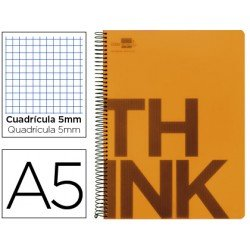Bloc Din A5 Liderpapel serie Think cuadricula 5 mm naranja