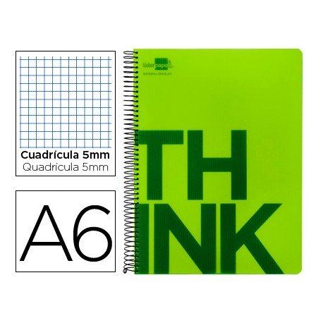 Bloc Din A6 Liderpapel serie Think cuadricula 5 mm verde