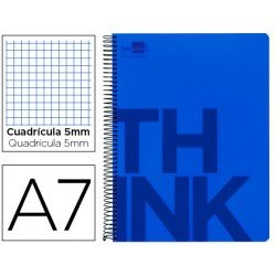 Bloc Din A7 Liderpapel serie Think cuadricula 5 mm azul