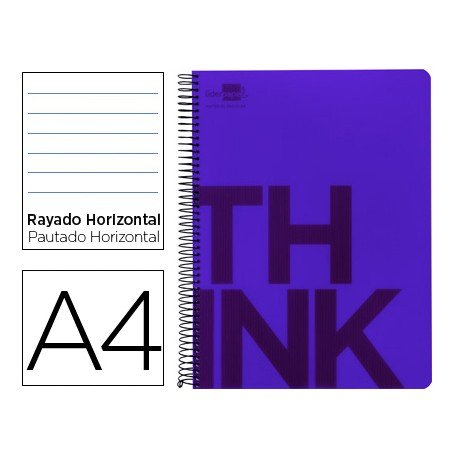 Bloc Din A4 Liderpapel serie Think rayado violeta
