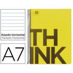 Bloc Din A7 Liderpapel serie Think rayado amarillo