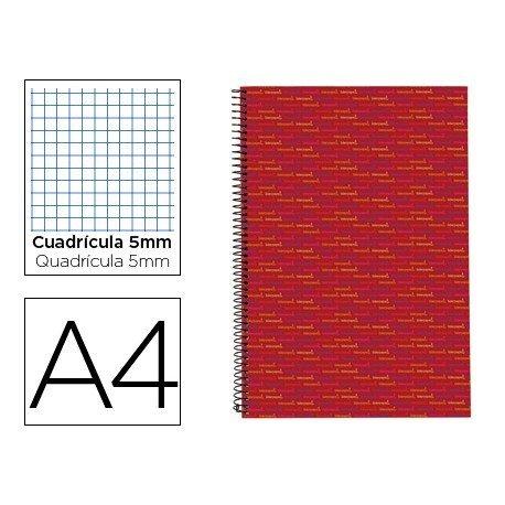 Bloc Din A4 espiral Microperforado Tapa forrada serie Multilider Liderpapel rojo