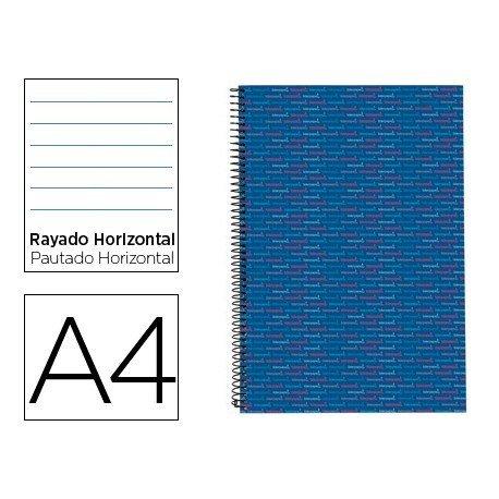 Bloc Din A4 espiral Microperforado Tapa forrada rayado Liderpapel azul
