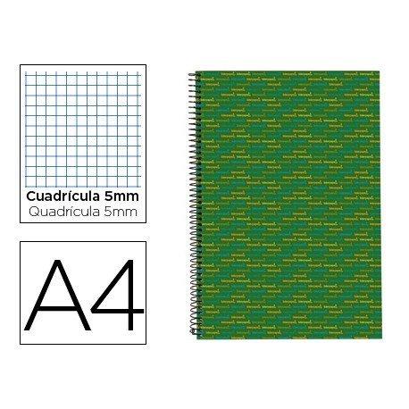 Bloc Din A4 espiral Microperforado Tapa forrada serie Multilider Liderpapel verde