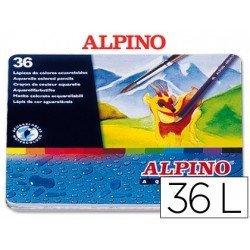 Lapices de colores acuarelables Alpino hexagonales caja de metal 36 unidades