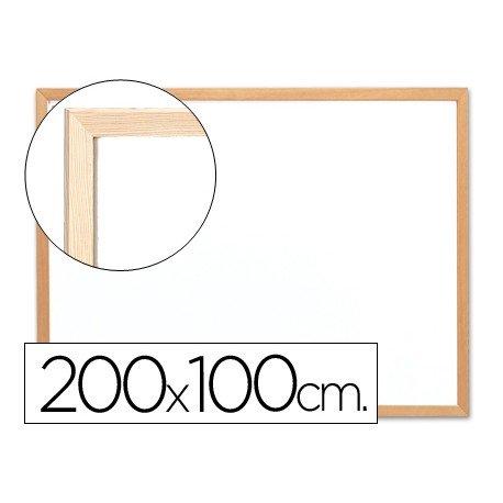 Pizarra Blanca laminada marco de madera 200x100 Q-Connect