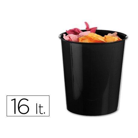 Papelera plástico Q-Connect negro opaco 16 litros
