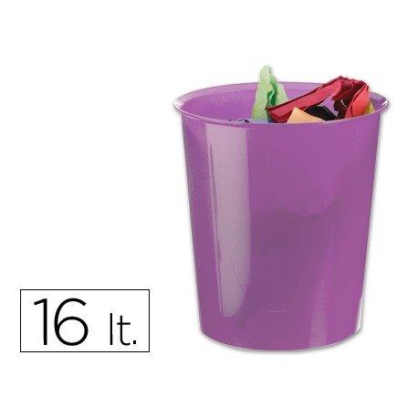 Papelera plástico Q-Connect violeta transparente 16 litros