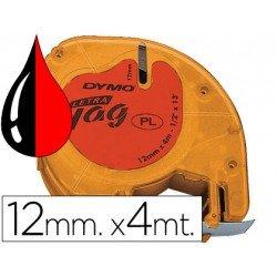 Cinta Dymo Letratag Rojo Plástico