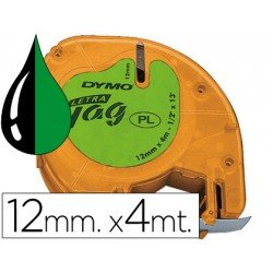 Cinta Dymo Letratag Verde Plástico
