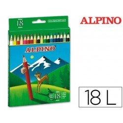 Lapices de Colores Alpino Hexagonales Caja de 18 lapices largos