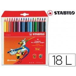 Lapices de colores Stabilo triangulares 18 unidades