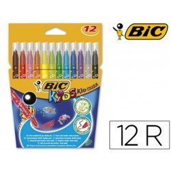 Estuche Rotulador Bic Kid Couleur punta media lavable caja de 12 unidades