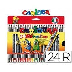 Rotulador Carioca Birello Duo grueso y fino caja de 24 rotuladores