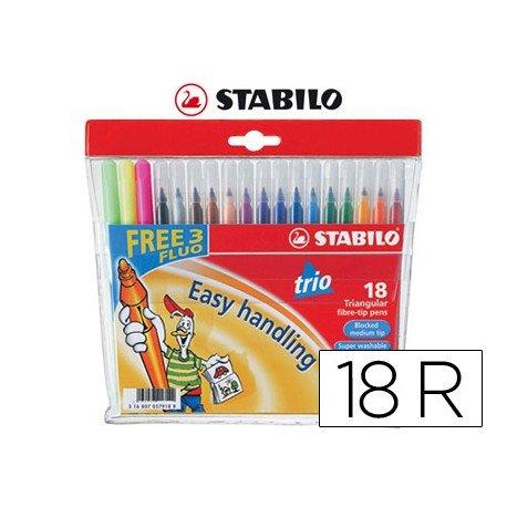 Rotulador Stabilo Trio Punta Fina Lavable Triangular caja de 18 rotuladores