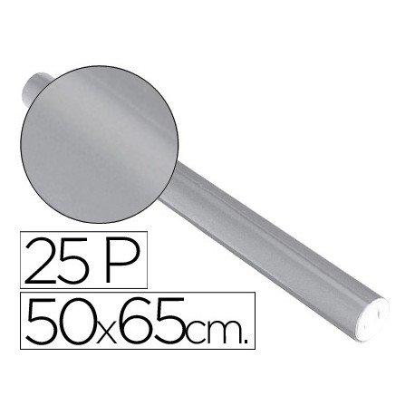 Papel metalizado Sadipal rollo 25 pliegos plata 65g/m2 50x16,25 m
