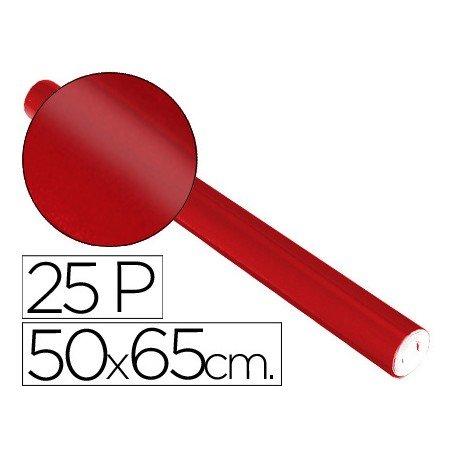 Papel metalizado Sadipal rollo 25 pliegos rojo 65g/m2 50x16,25 m