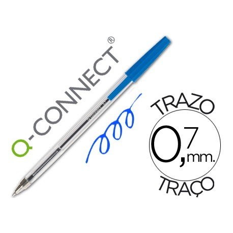 Boligrafo transparente Q-Connect Azul