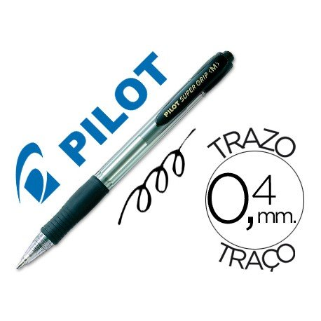 Boligrafo Pilot Super Grip negro 0,4 mm