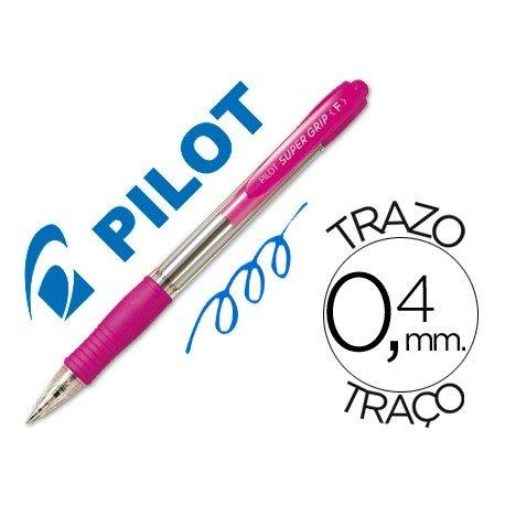 Boligrafo Pilot Super Grip Rosa tinta azul 0,4 mm