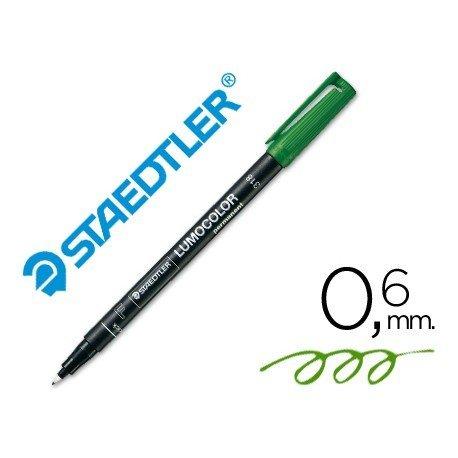 Rotulador Retroproyección Permanente Staedtler Lumocolor 318 Verde Punta Superfina Redonda
