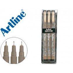 Rotulador Artline calibrado micrometrico negro estuche 3 unidades