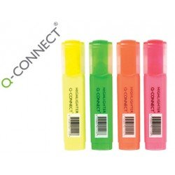Rotuladores fluorescentes Q-Connect 4 colores