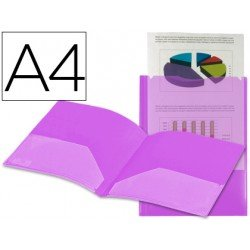 Carpeta dossier con doble bolsa canguro Beautone Din A4 violeta