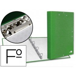 Carpeta 4 anillas gomas carton forrado Liderpapel Paper Coat lomo 40 mm verde