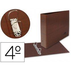 Carpeta Liderpapel cuarto 2 anillas carton apaisado cuero
