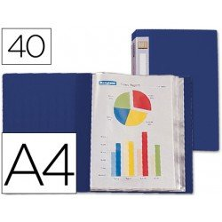 Carpeta escaparate 40 fundas fijas Beautone azul