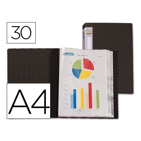 Carpeta escaparate 30 fundas fijas Beautone negro