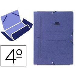 Carpetas de gomas carton Liderpapel cuarto azul