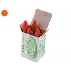 Lapices cera Jovi caja de 12 unidades color naranja